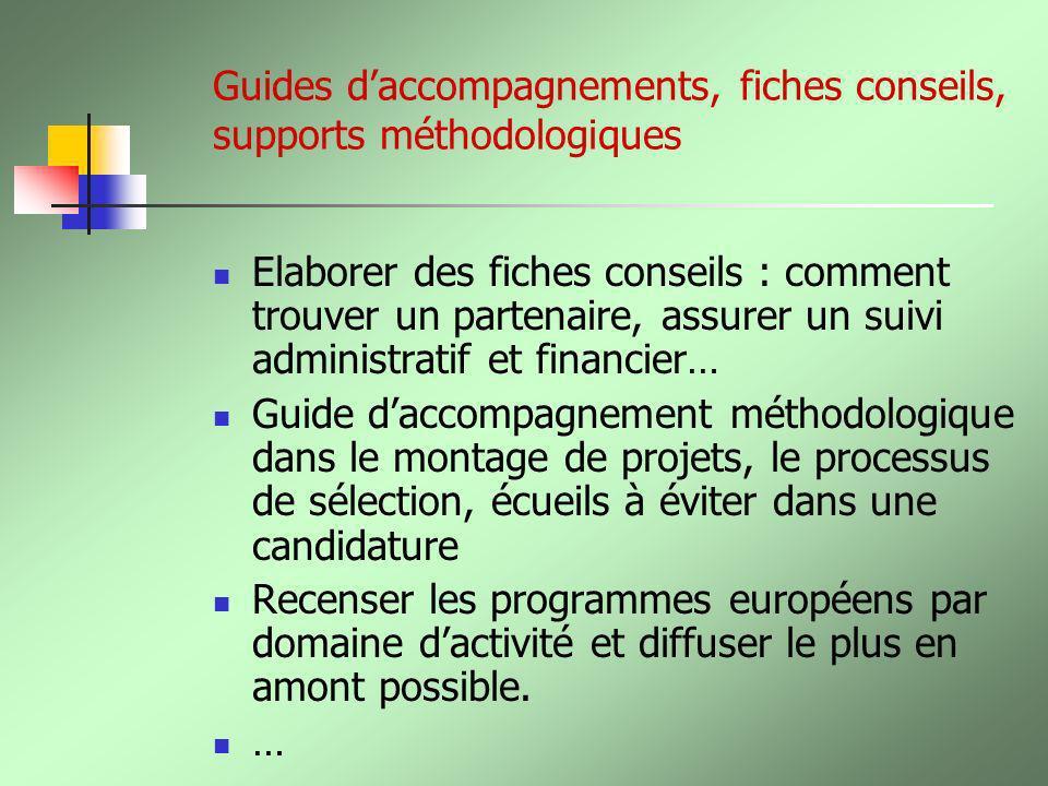 Guides d'accompagnements, fiches conseils, supports méthodologiques