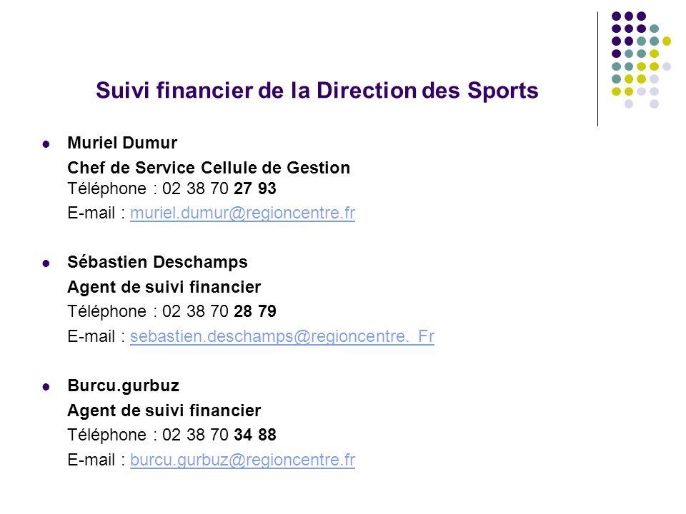 Suivi financier de la Direction des Sports