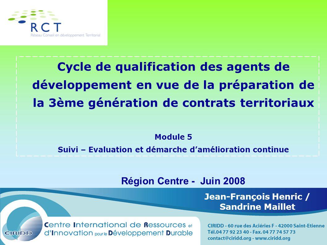 Cycle de qualification des agents de développement en vue de la préparation de la 3ème génération de contrats territoriaux