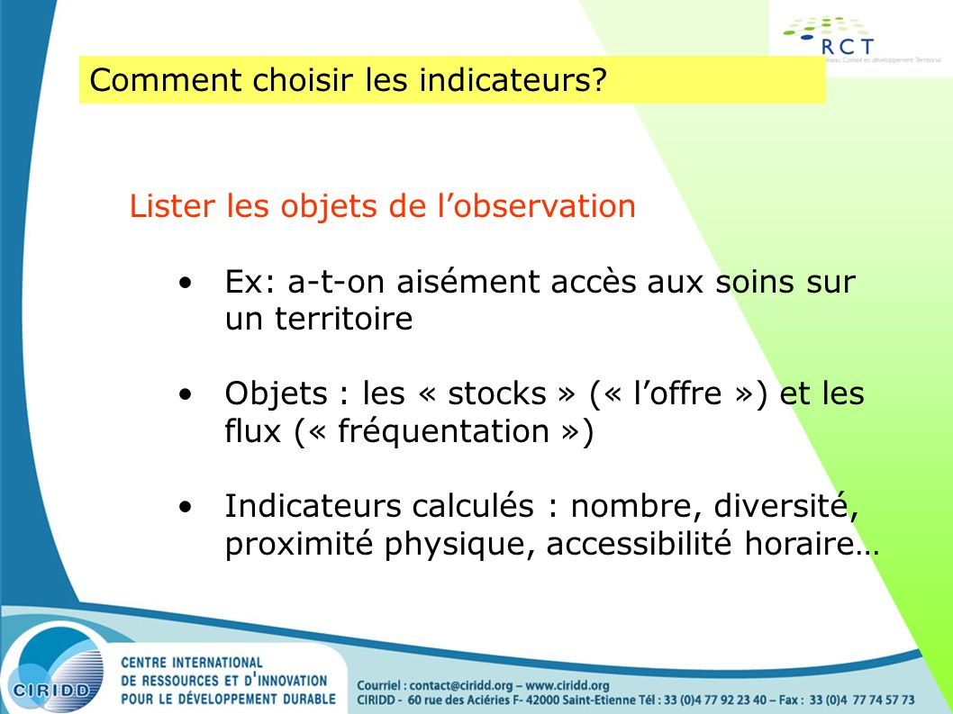 Comment choisir les indicateurs
