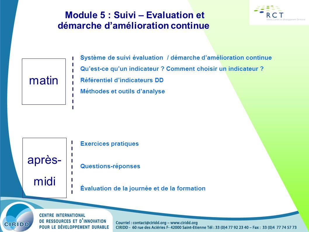 Module 5 : Suivi – Evaluation et démarche d'amélioration continue