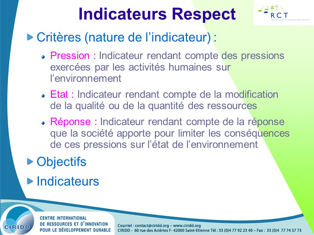 Indicateurs Respect Critères (nature de l'indicateur) : Objectifs