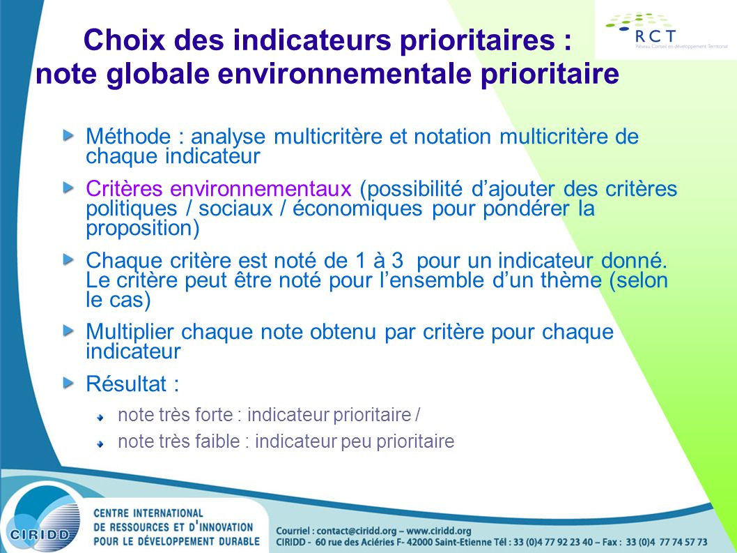 Choix des indicateurs prioritaires : note globale environnementale prioritaire