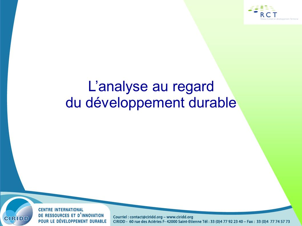 L'analyse au regard du développement durable