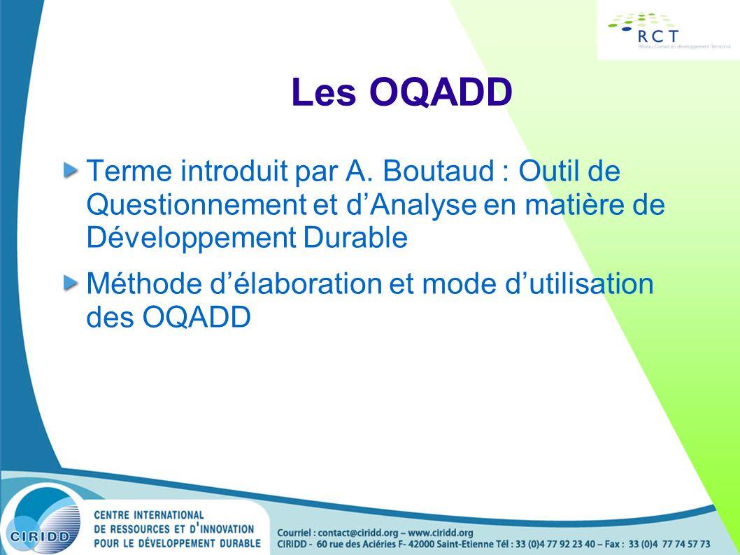 Les OQADD Terme introduit par A. Boutaud : Outil de Questionnement et d'Analyse en matière de Développement Durable.