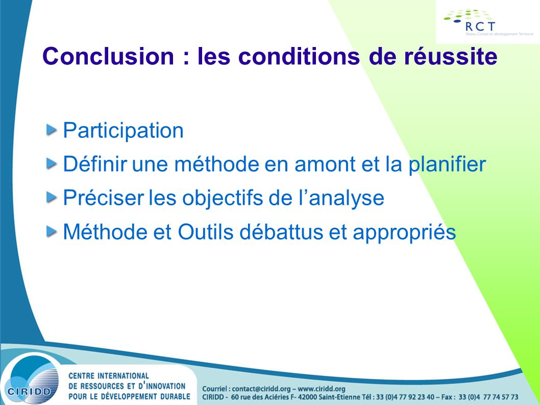 Conclusion : les conditions de réussite