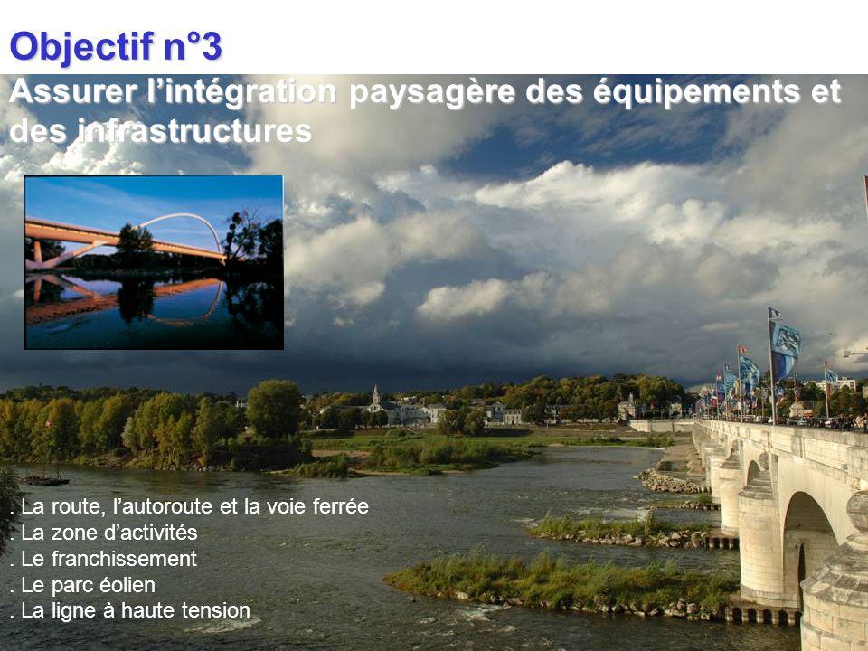 Objectif n°3 Assurer l'intégration paysagère des équipements et des infrastructures. . La route, l'autoroute et la voie ferrée.