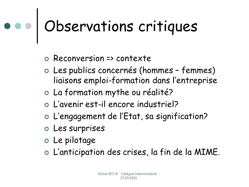 Observations critiques