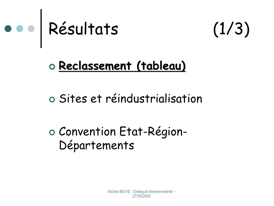 Michel BOVE - Délégué Interministériel - 27/09/2005