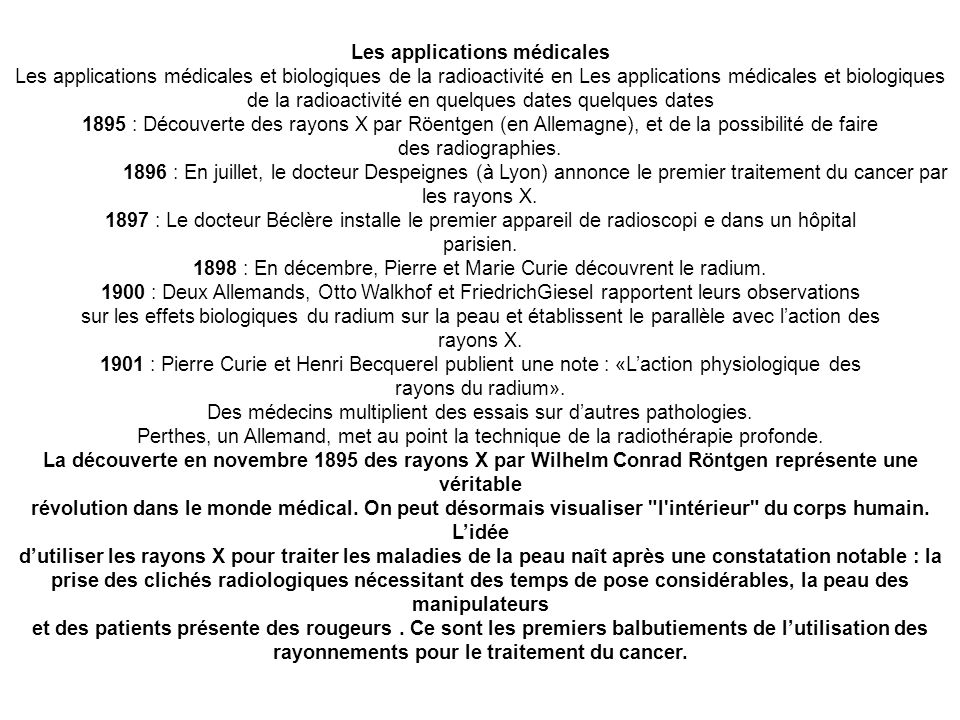 Les applications médicales rayonnements pour le traitement du cancer.