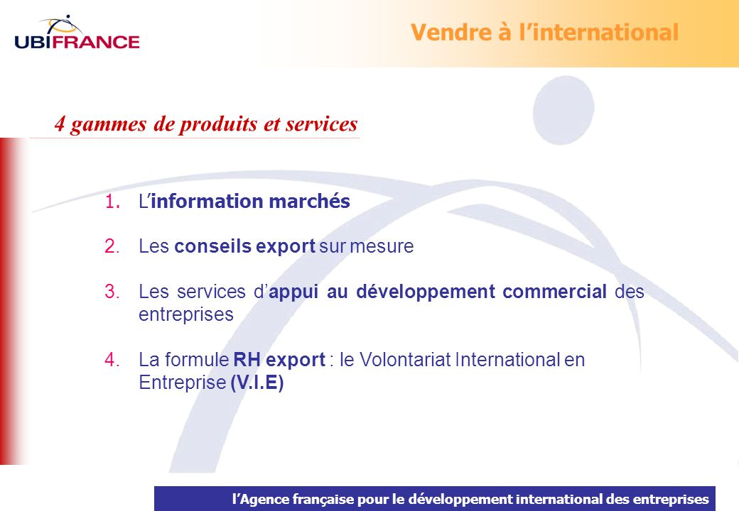 Vendre à l'international