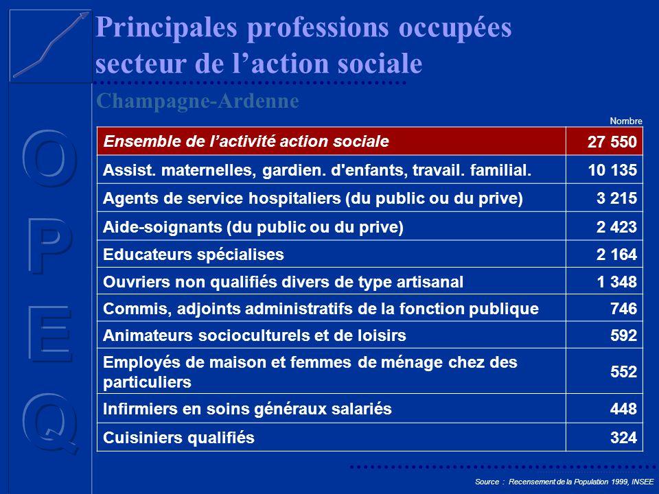 Principales professions occupées secteur de l'action sociale