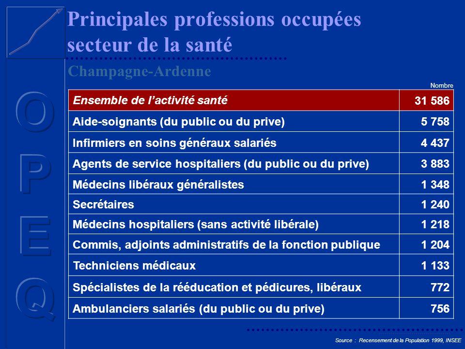 Principales professions occupées secteur de la santé