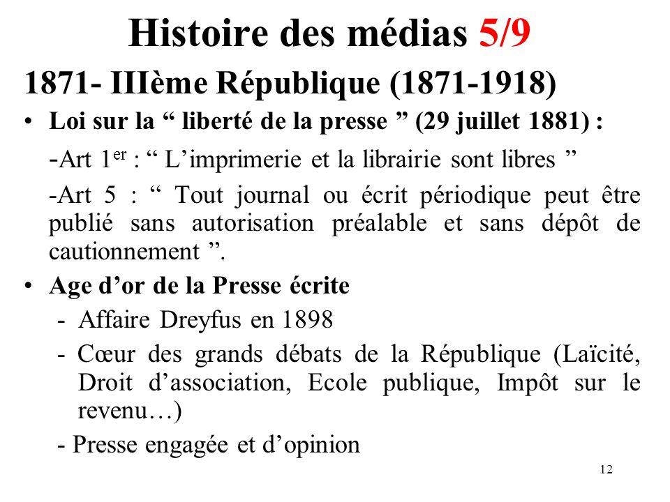Histoire des médias 5/9 1871- IIIème République (1871-1918)