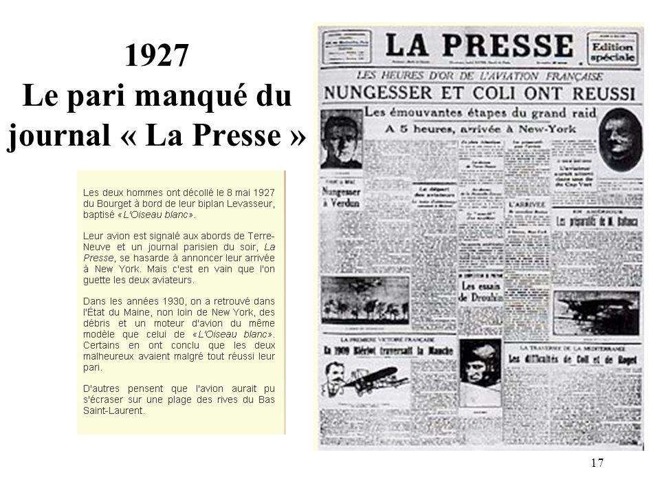 1927 Le pari manqué du journal « La Presse »