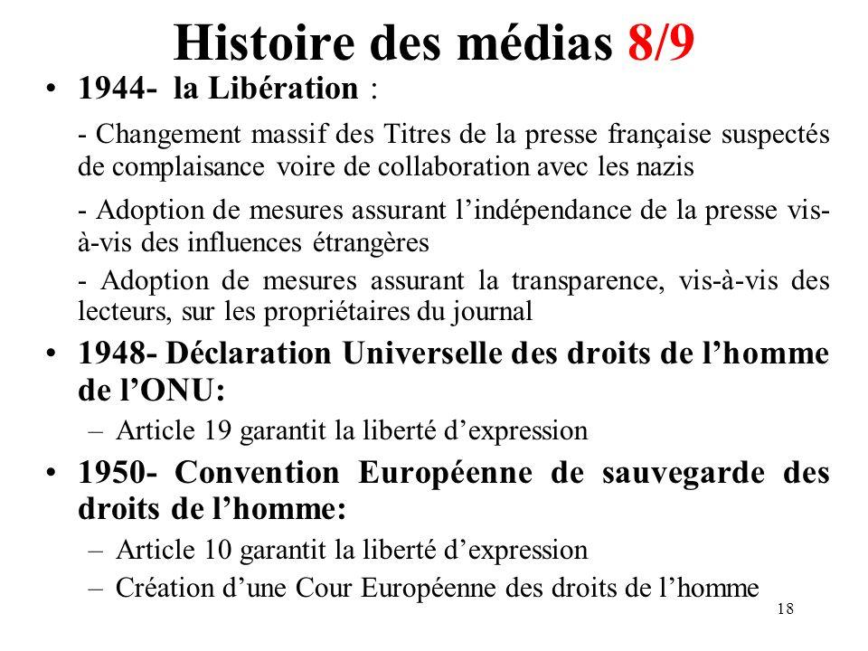 Histoire des médias 8/9 1944- la Libération :