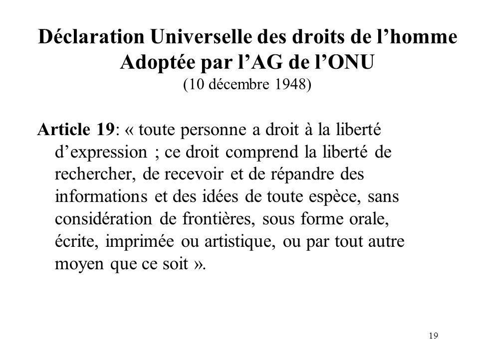 Déclaration Universelle des droits de l'homme Adoptée par l'AG de l'ONU (10 décembre 1948)