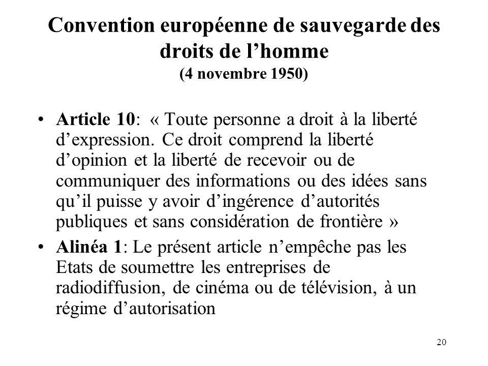 Convention européenne de sauvegarde des droits de l'homme (4 novembre 1950)