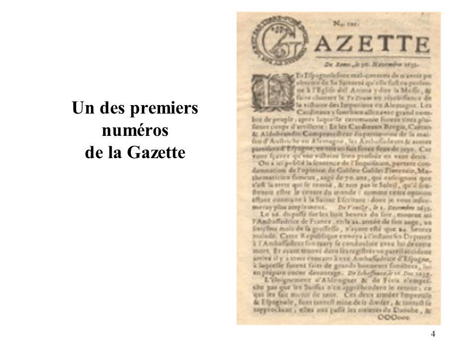 Un des premiers numéros de la Gazette