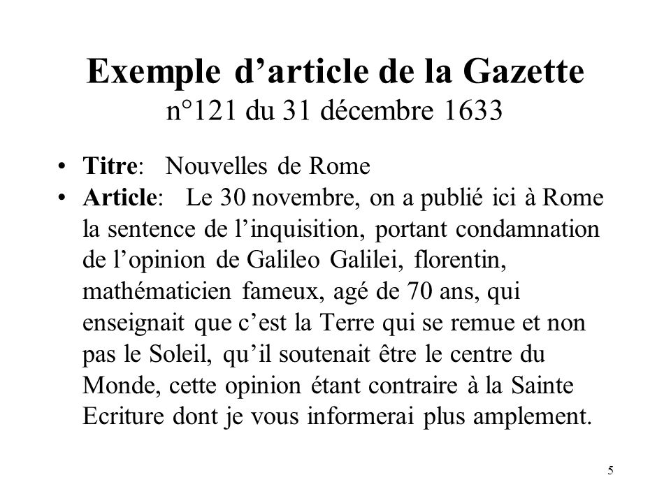 Exemple d'article de la Gazette n°121 du 31 décembre 1633