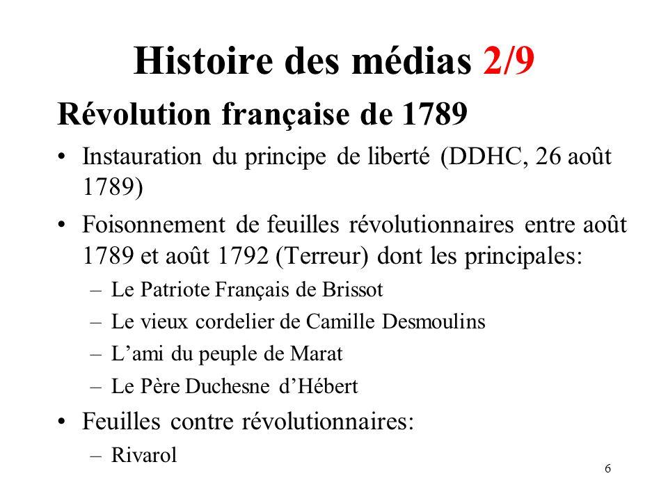Histoire des médias 2/9 Révolution française de 1789