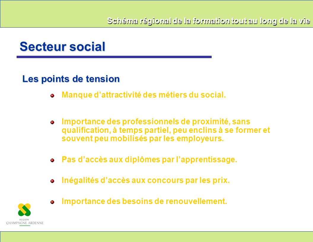Secteur social Les points de tension