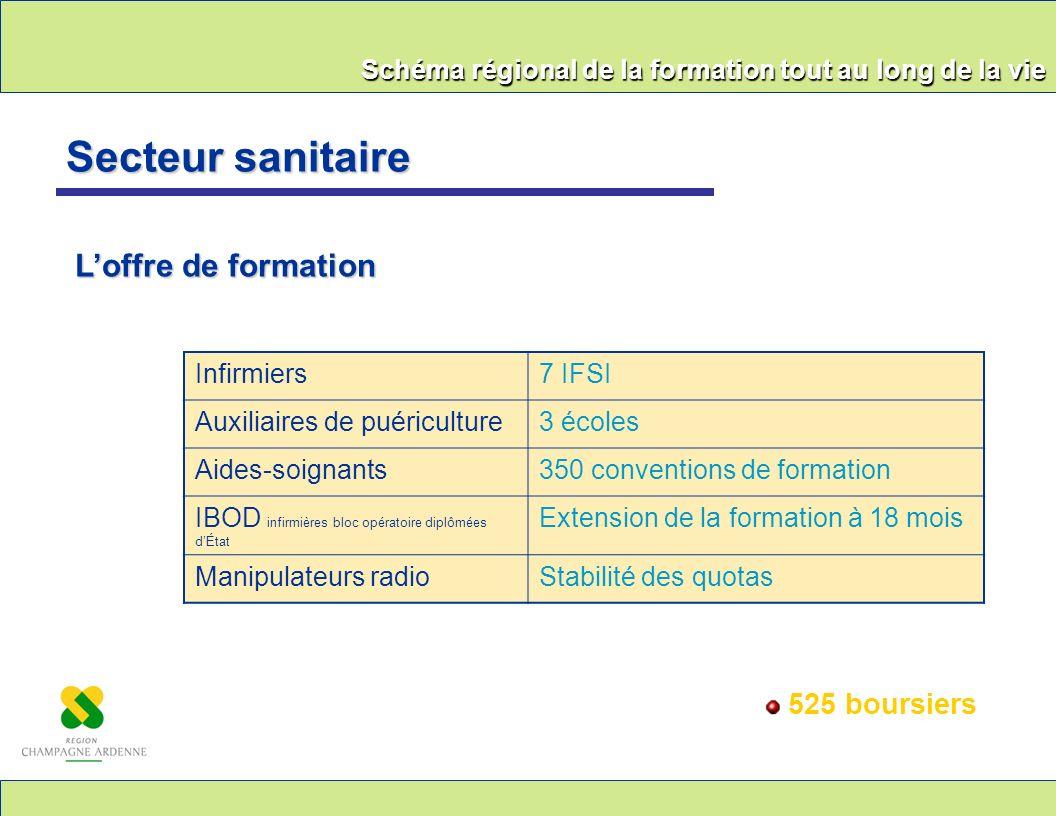 Secteur sanitaire L'offre de formation 525 boursiers Infirmiers 7 IFSI