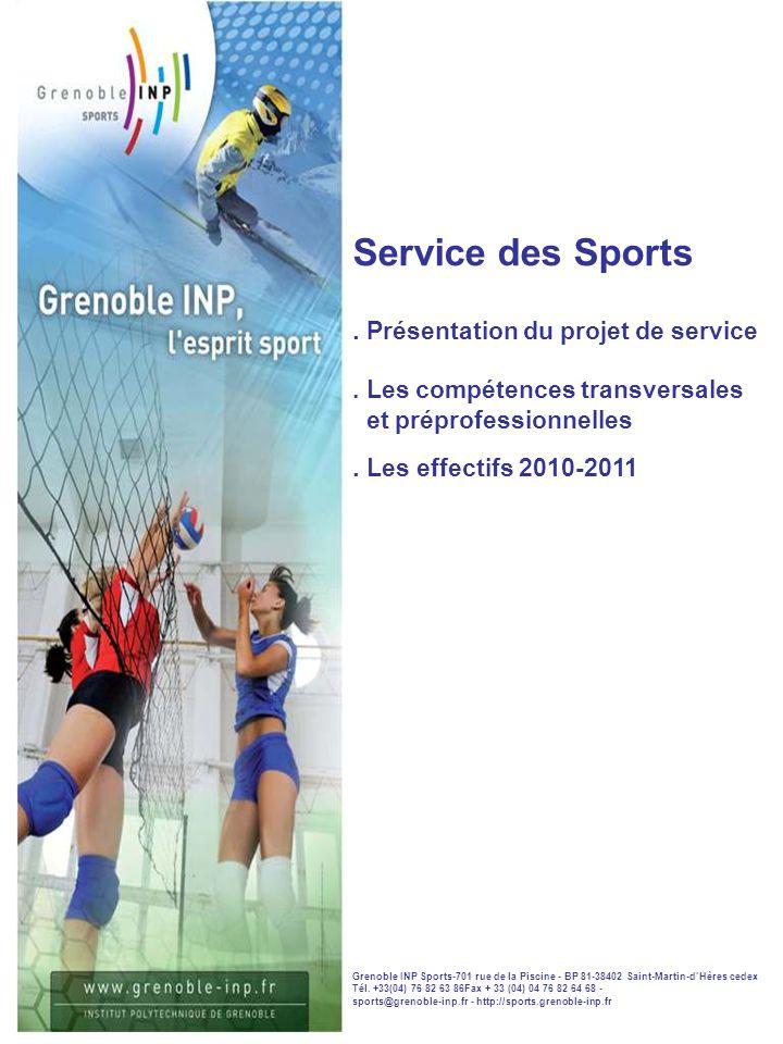 Service des Sports . Présentation du projet de service