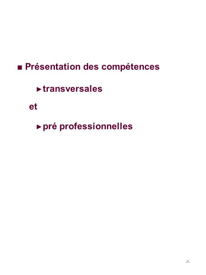 ■ Présentation des compétences ►transversales et