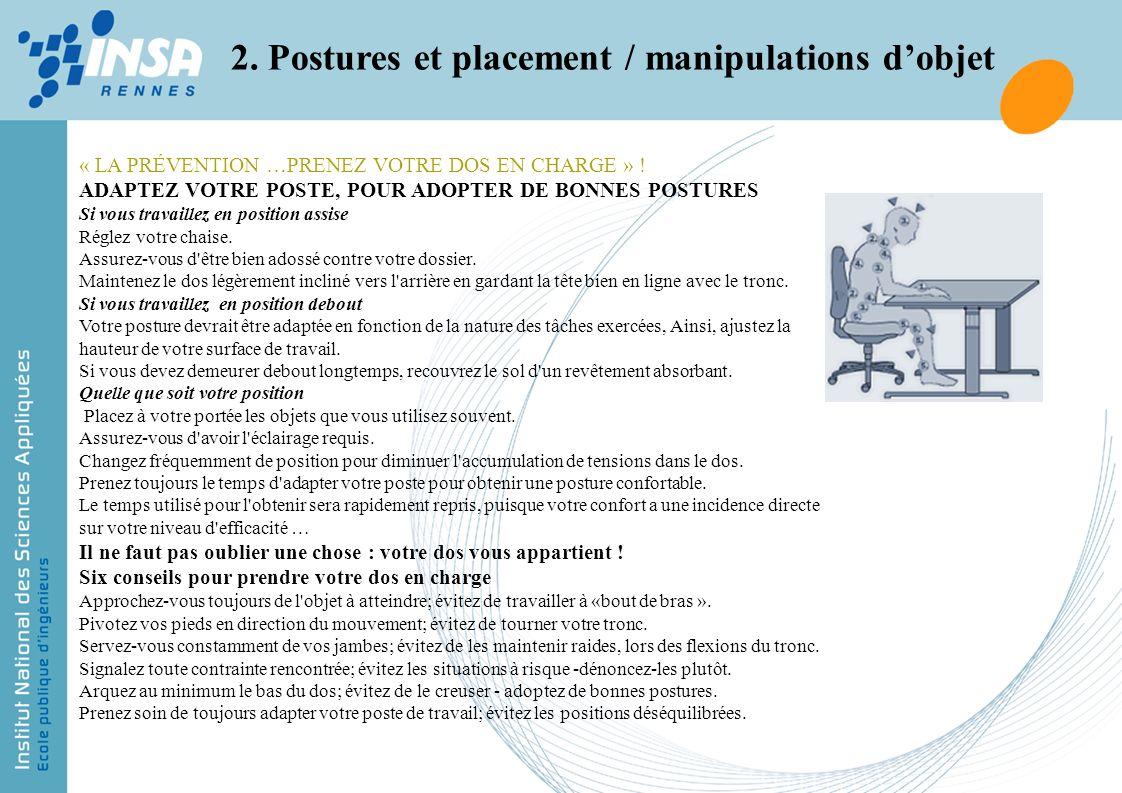 2. Postures et placement / manipulations d'objet