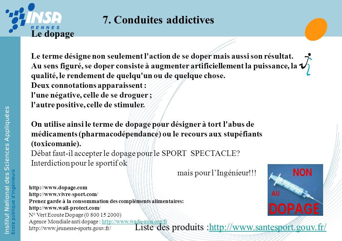 7. Conduites addictives Le dopage