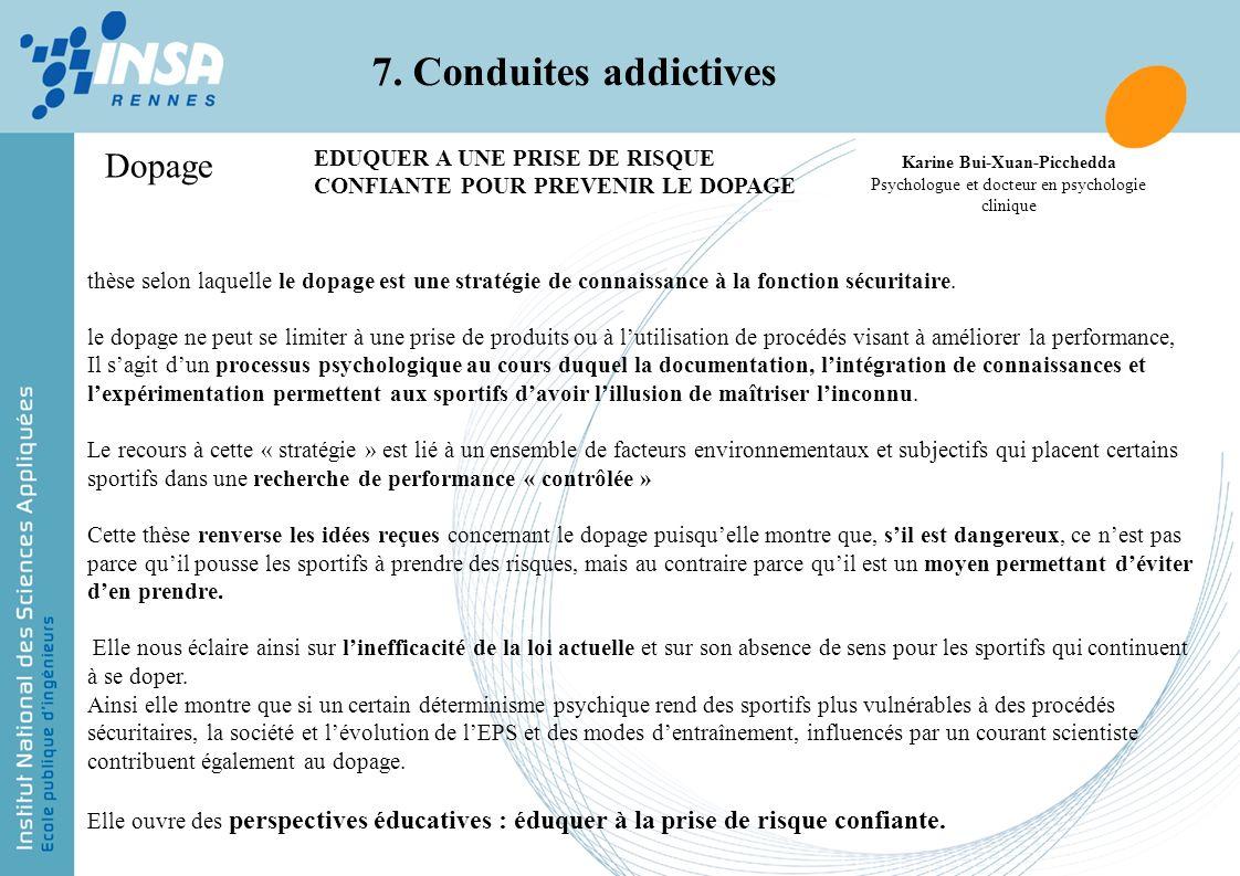 7. Conduites addictives Dopage