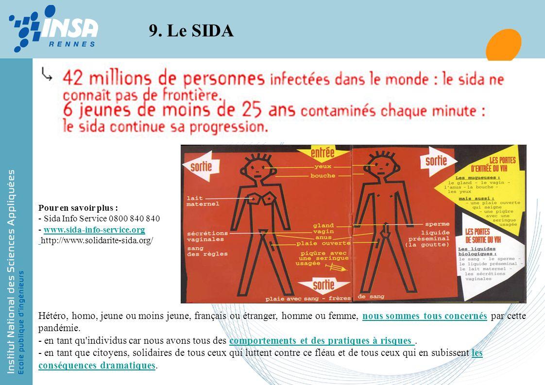9. Le SIDA En cas d'exposition TRITHERAPIE dans les 6h, au urgences.