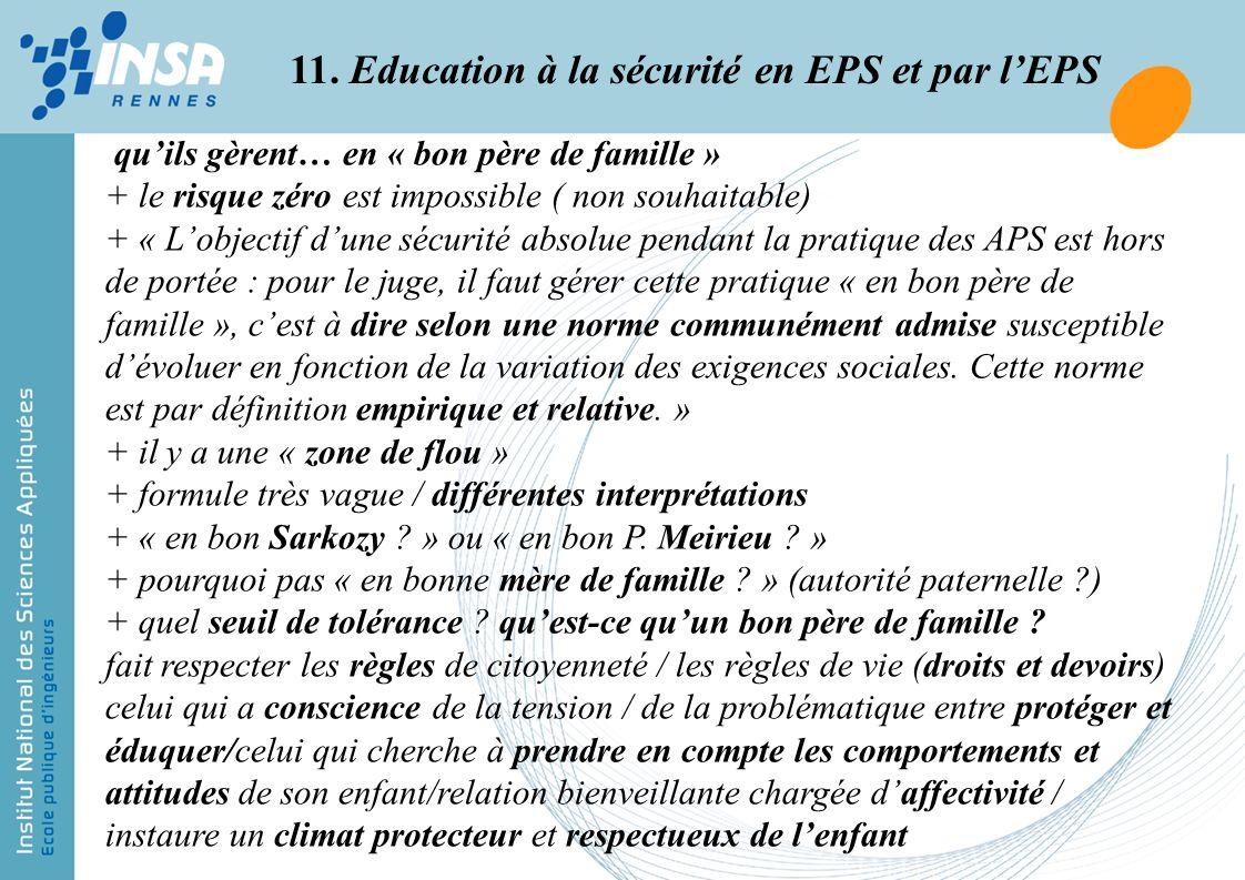 11. Education à la sécurité en EPS et par l'EPS