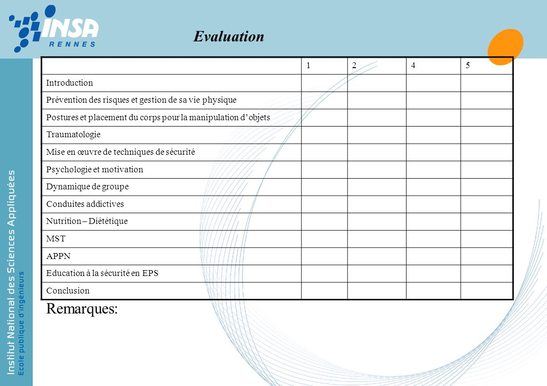 Evaluation Remarques: 1 2 4 5 Introduction