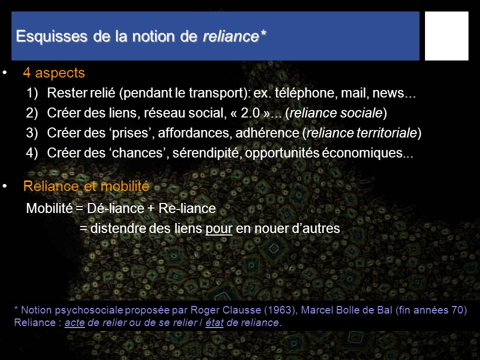 Esquisses de la notion de reliance*