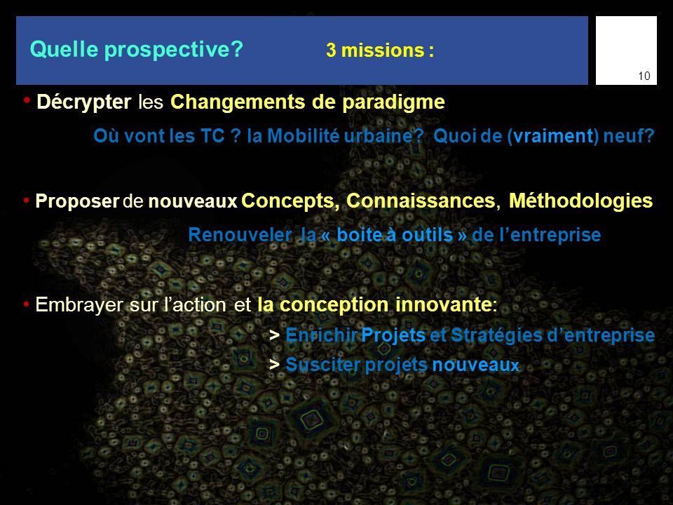 Quelle prospective 3 missions :