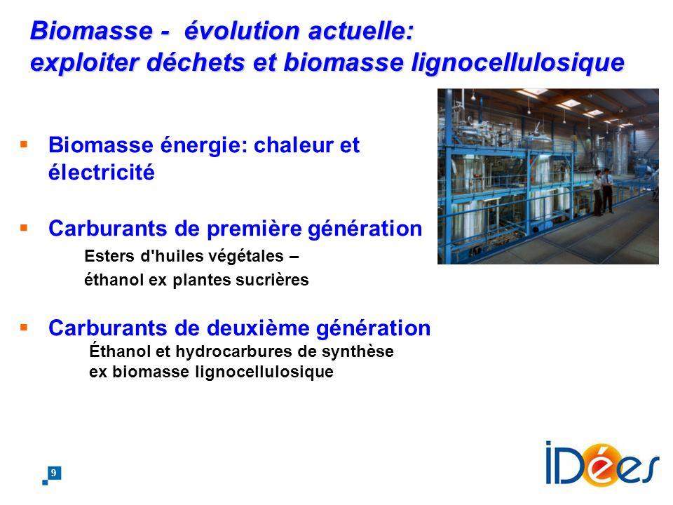 Biomasse - évolution actuelle: exploiter déchets et biomasse lignocellulosique
