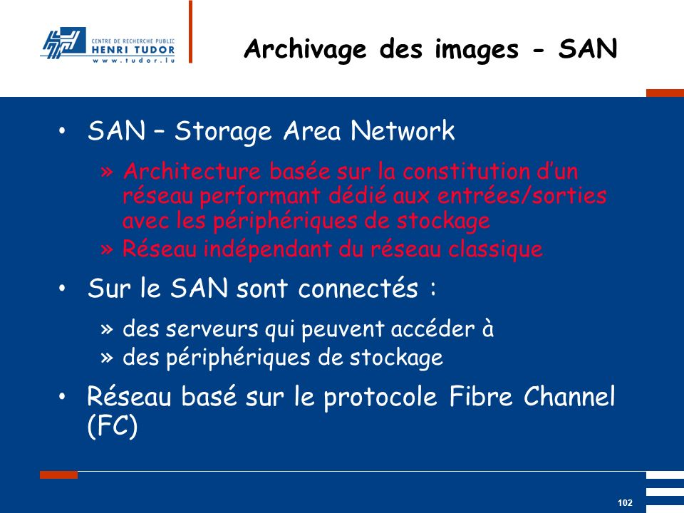 Archivage des images - SAN