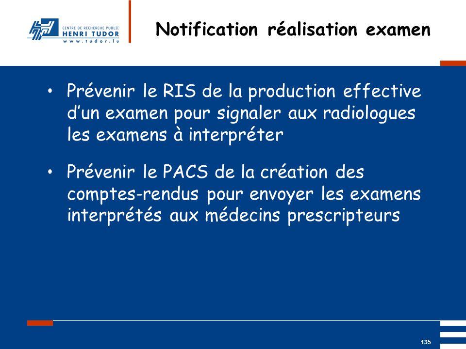 Notification réalisation examen