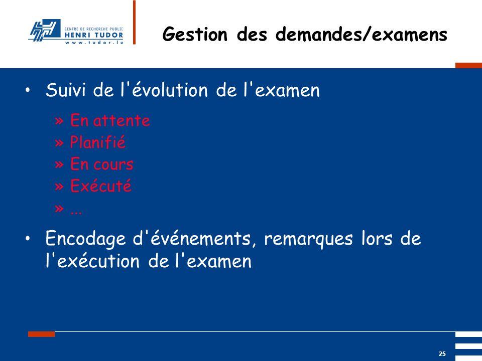 Gestion des demandes/examens