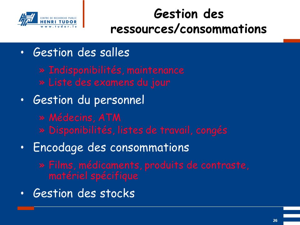 Gestion des ressources/consommations