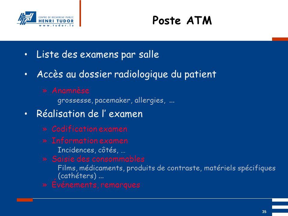 Poste ATM Liste des examens par salle