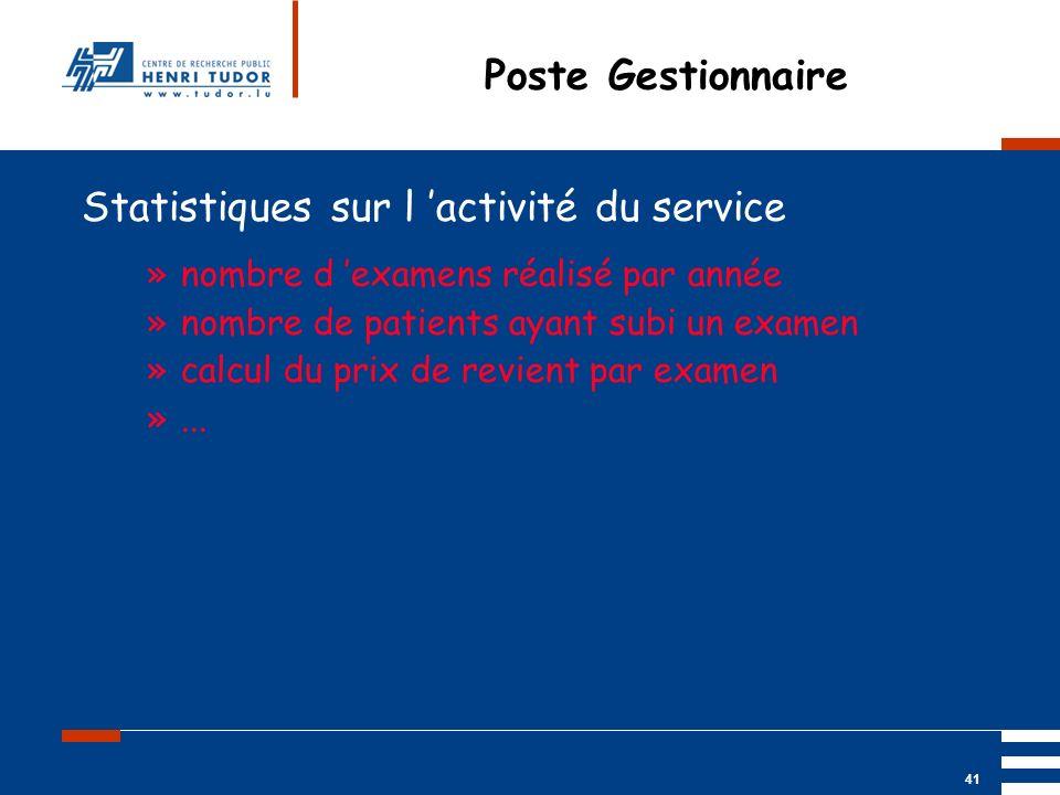 Statistiques sur l 'activité du service