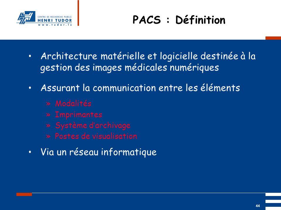 PACS : Définition Architecture matérielle et logicielle destinée à la gestion des images médicales numériques.