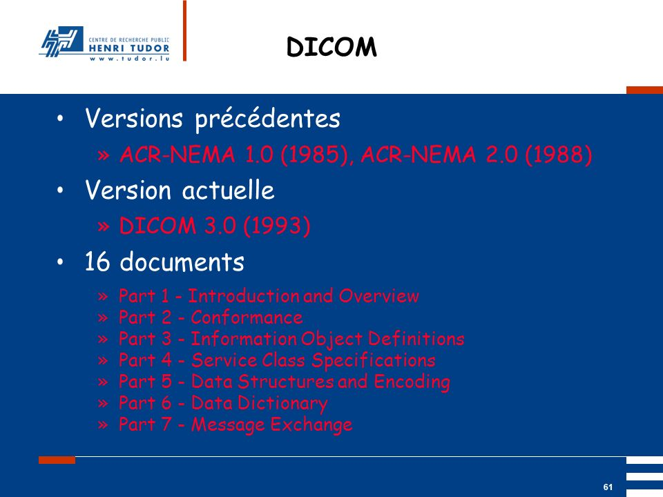 DICOM Versions précédentes Version actuelle 16 documents
