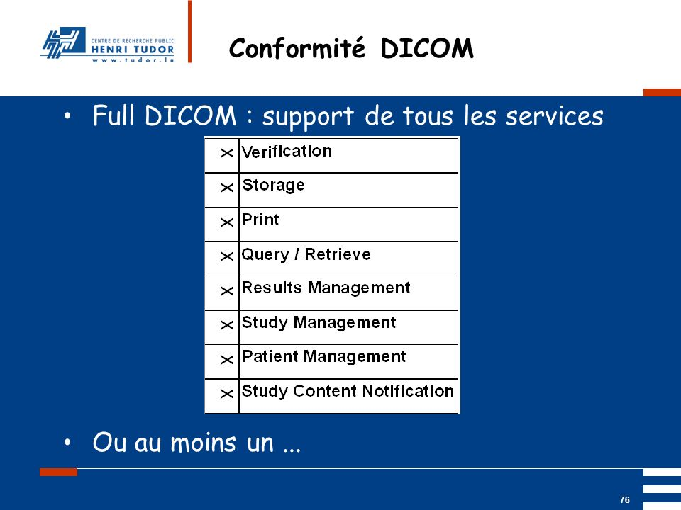 Conformité DICOM Full DICOM : support de tous les services Ou au moins un ...