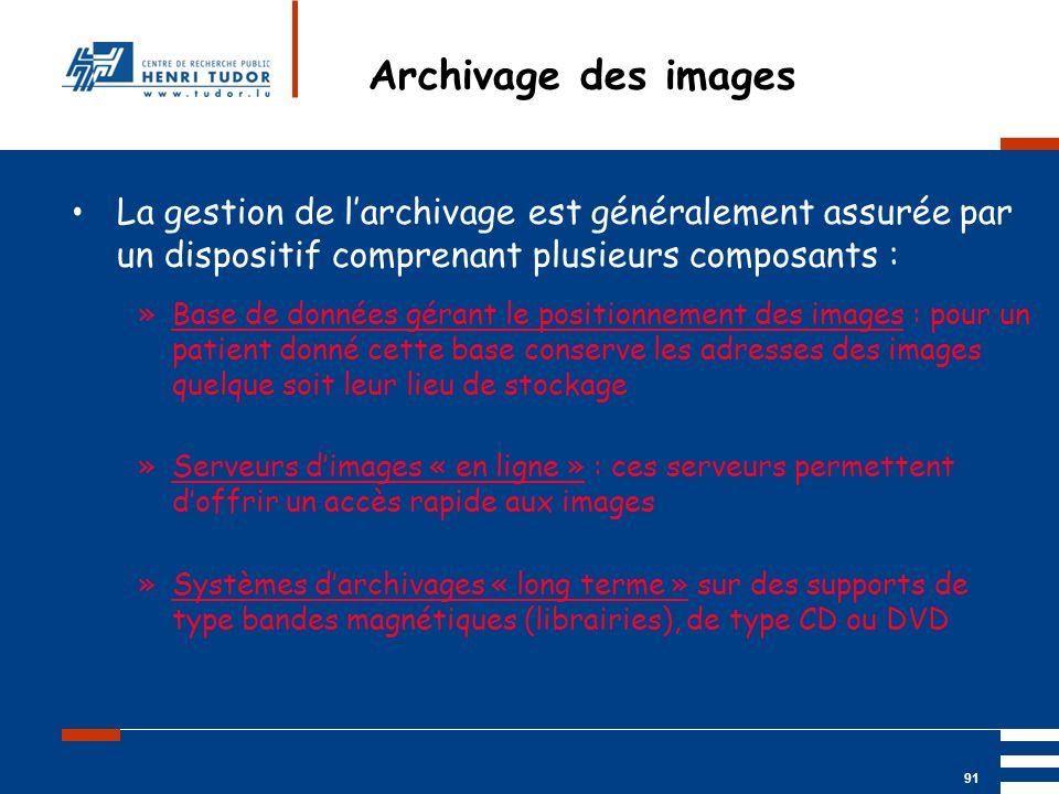 Archivage des images La gestion de l'archivage est généralement assurée par un dispositif comprenant plusieurs composants :