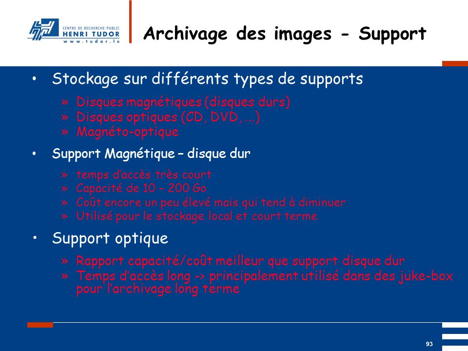 Archivage des images - Support