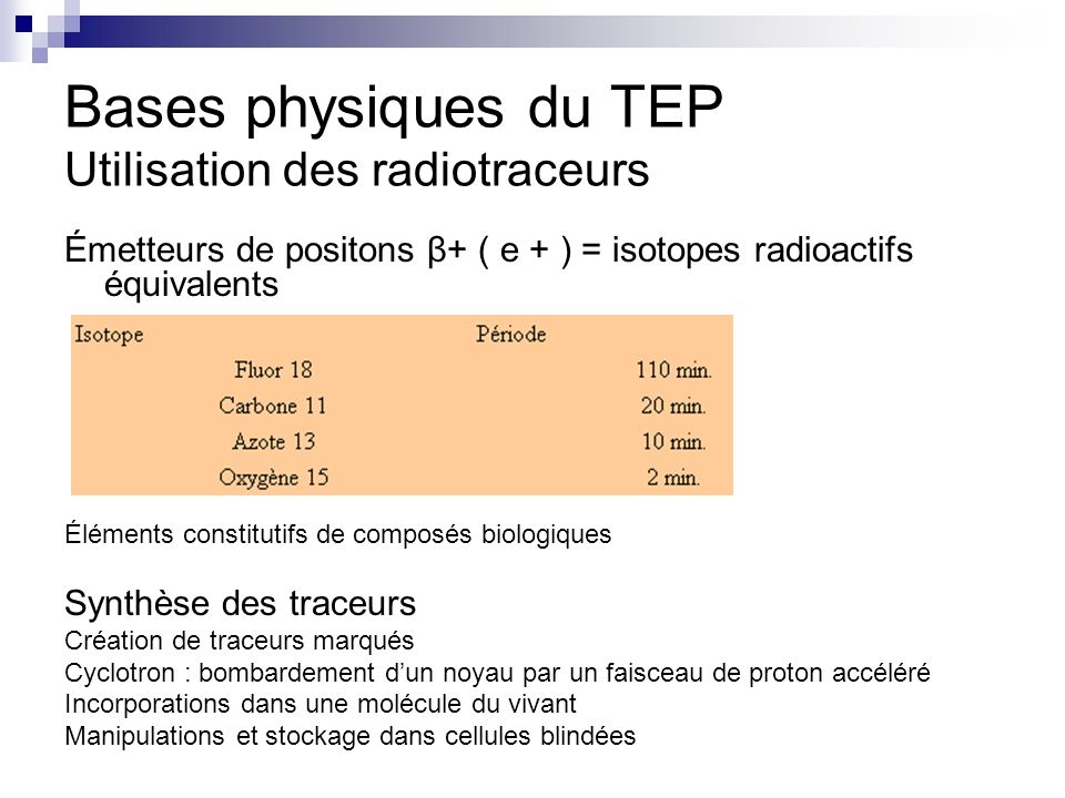 Bases physiques du TEP Utilisation des radiotraceurs